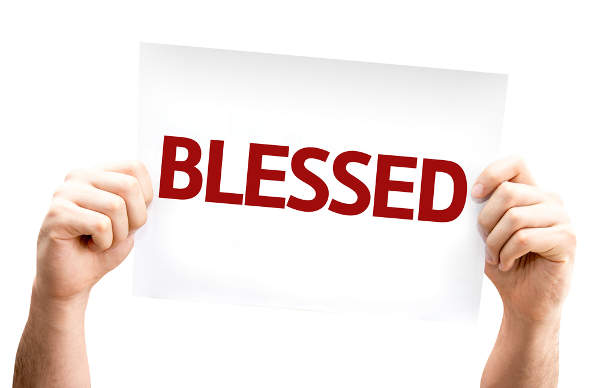 Blessed card on white background