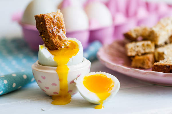 Runny eggs and toast
