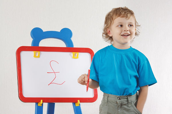 Finances_Boy with white board