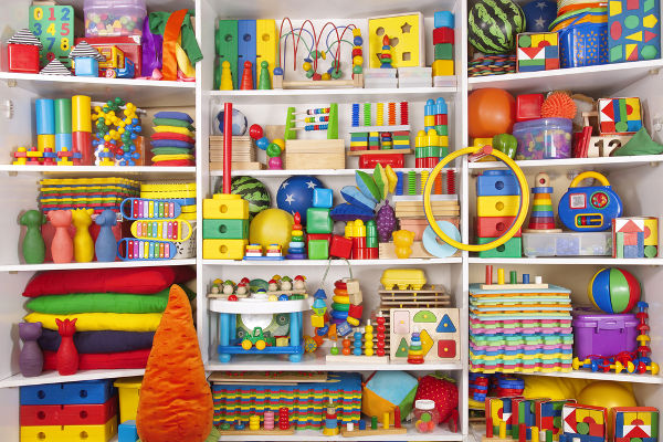 Toys_Shelf with many colored toys