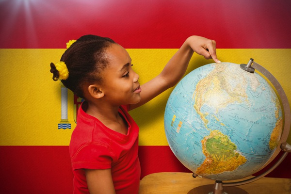 Child Spain flag world map