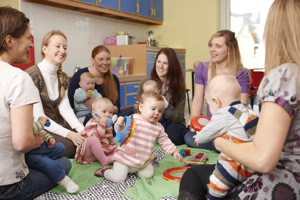 Mothers at a playgroup