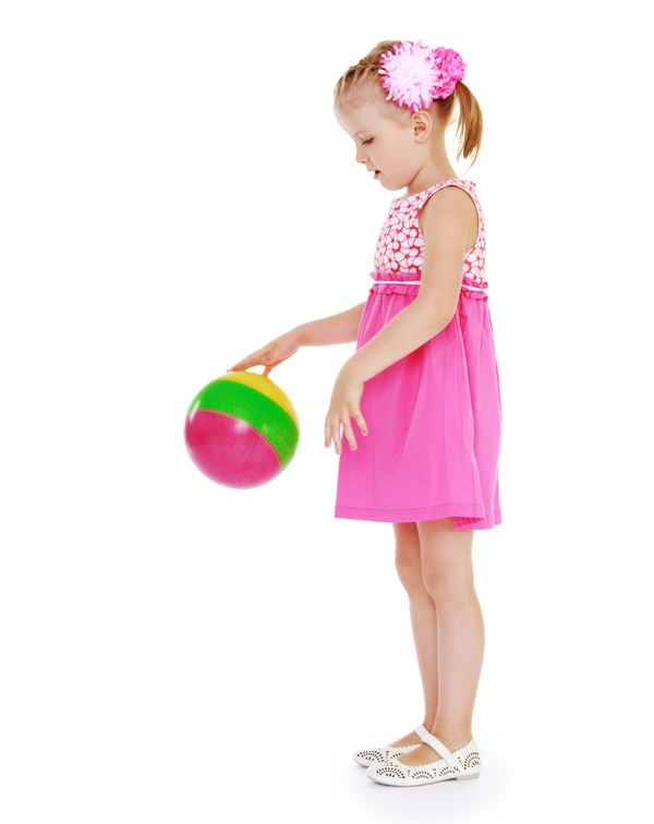girl with rubber ball