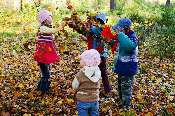 An image of children playing in the autumn park
