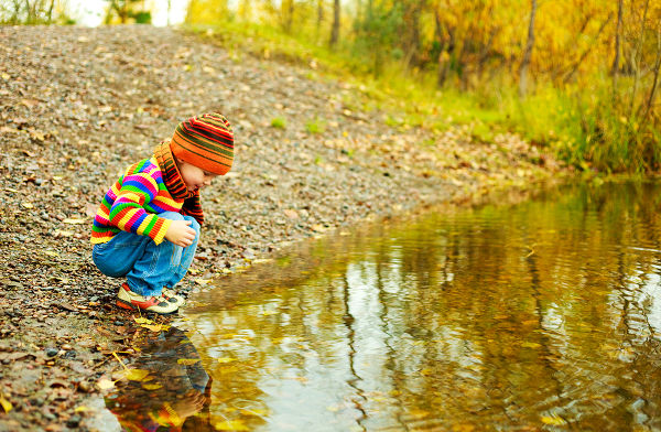 cute little boy playing near the lake in the autumn park