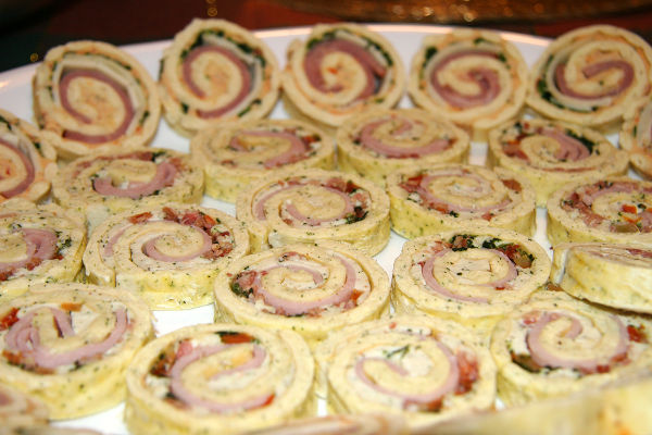 holiday or party appetizer of pin wheels