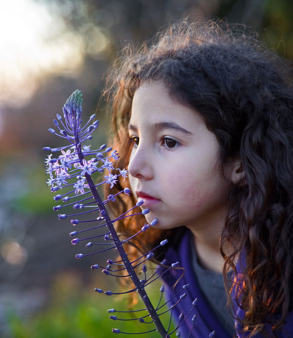 little girl smelling a purple flower