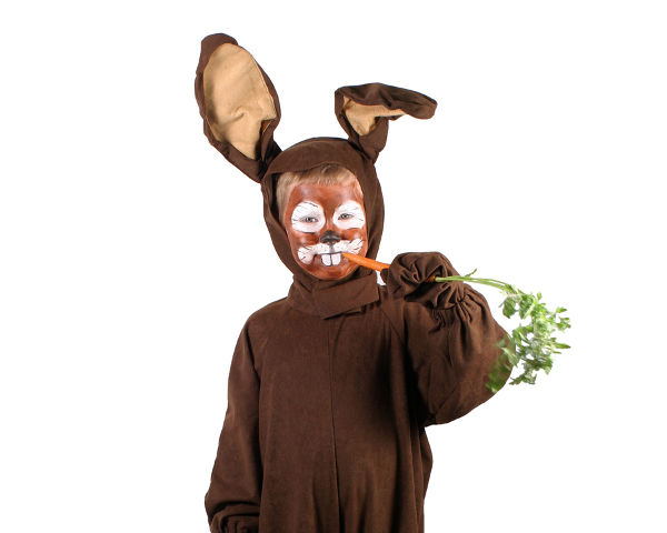 a little boy in a rabbit costume about to eat a carrot.