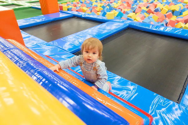 toddler in soft play
