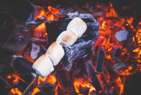 Marshmallows on fire