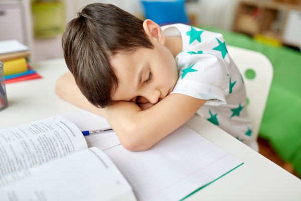 education, childhood and school concept - tired student boy slee