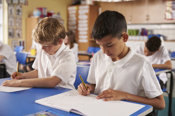 Two schoolboys working in a primary sch