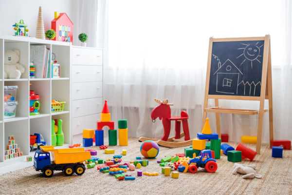 Childrens Playroom With Plastic Colorful Educational Blocks Toys