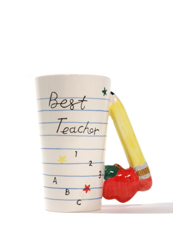 Best teacher mug with pencil handle design