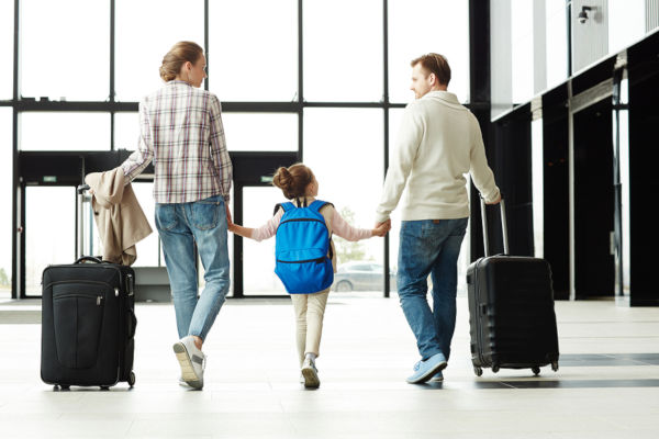 family with child at the airport