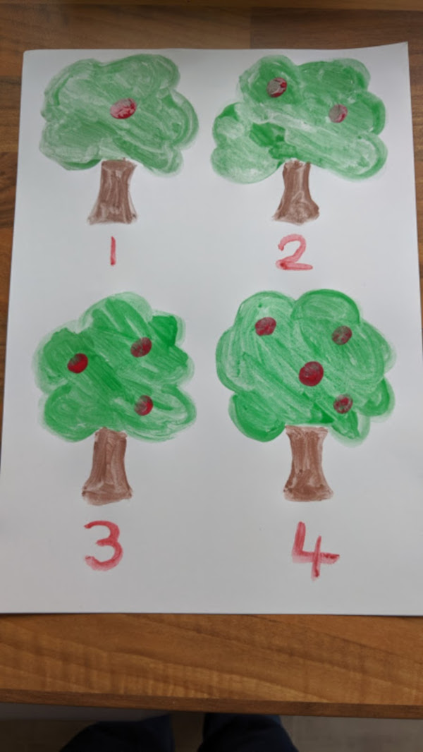 apple tree finger painting with numbers