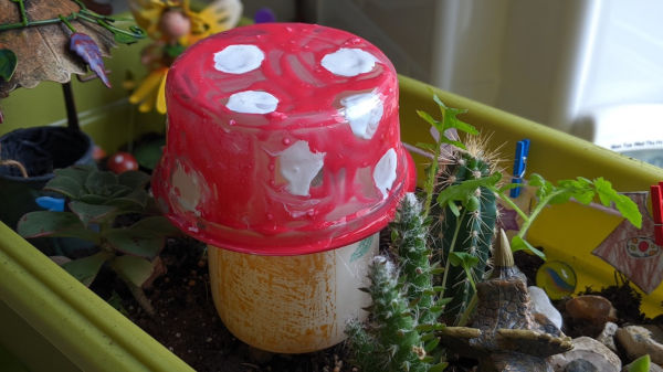 Toadstool made from plastics. Recycled craft project