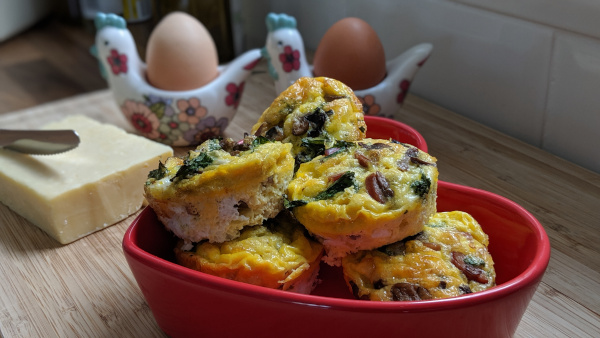 Pile of egg muffins in a dish