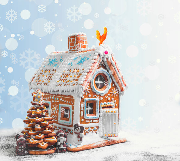 Beautifully decorated gingerbread house