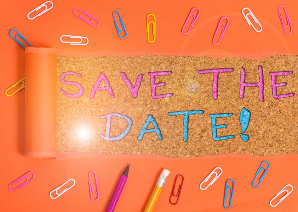 Save the date message on glitter background