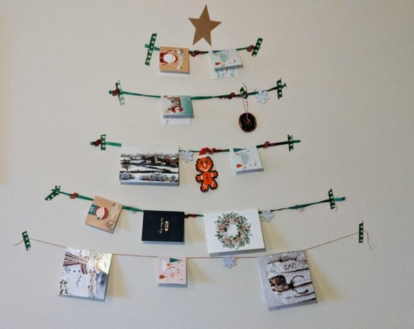 Christmas Card tree made from string and washi tape