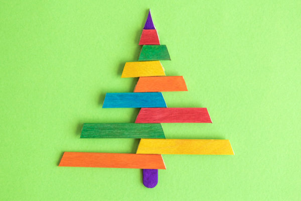 Christmas tree made from ice lolly sticks