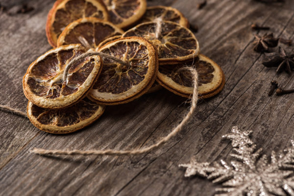 Dried orange slices on a string for Christmas