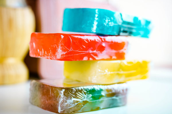 Stack of colourful handmade soaps