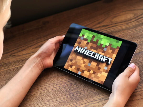 Minecraft game on tablet