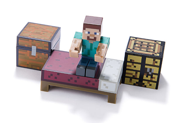 Minecraft figure on bed with craft table