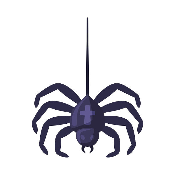 Hanging Spider, Happy Halloween Object Cartoon Style Vector Illustration on White Background