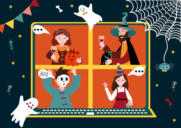 Halloween online party. Virtual meet group to celebrate festival. People in horror costume have video conference from home. Friends spend time together on video call. New normal life.