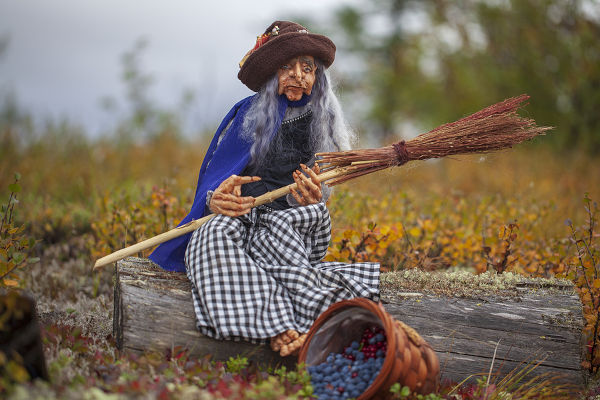 Autumn in the forest, plastic doll, polymer clay, witch with a broom in the forest