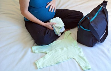 mum packing hospital bag