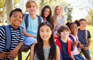 Group of schoolchildren on a school trip