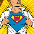 Pop art female superhero. Young sexy woman dressed in white jacket shows superhero t-shirt with W sign means Woman on the chest flies smiling. Vector illustration in retro pop art comic style.
